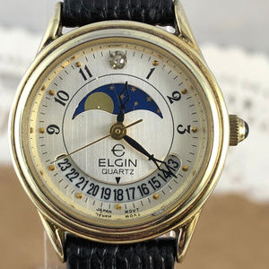 Ladies Elgin Gold Tone Day/Night Indicator Watch